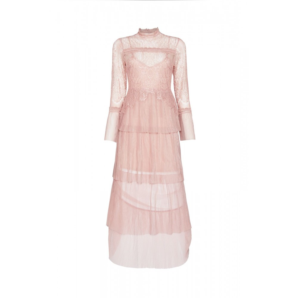 Outstanding Long Pink Lace And Tulle Dress Luxembourg Dress Rental